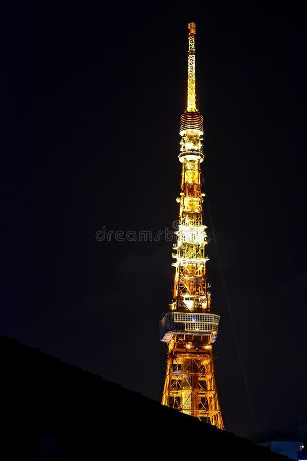 Scena di notte di vista della torre di Tokyo immagini stock