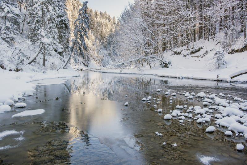 Scena di panorama con ghiaccio e neve al fiume in Baviera fotografie stock