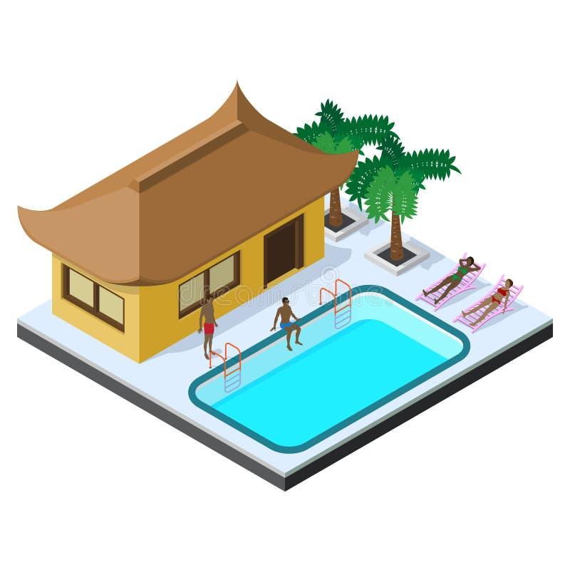 Scena di resto di estate nella vista isometrica con l'hotel del bungalow, la piscina, i lettini, le palme e la gente royalty illustrazione gratis
