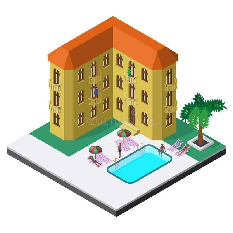 Scena di resto di estate nella vista isometrica con la località di soggiorno dell'hotel, la piscina, i lettini, gli ombrelli, la  royalty illustrazione gratis