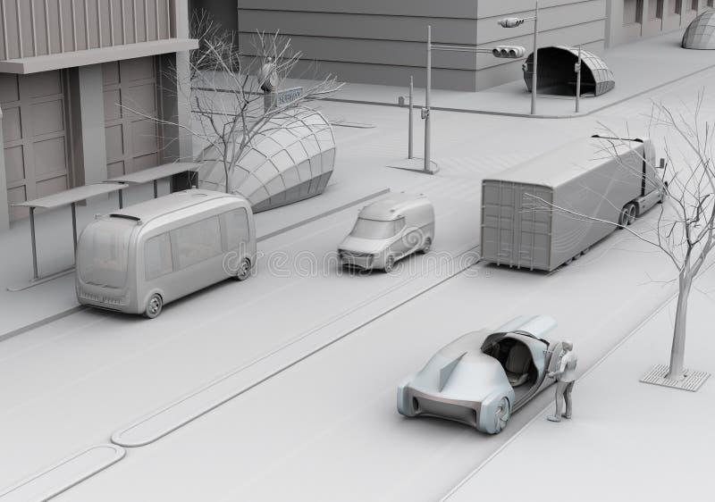 Scena di stile urbano moderno del trasporto fotografia stock