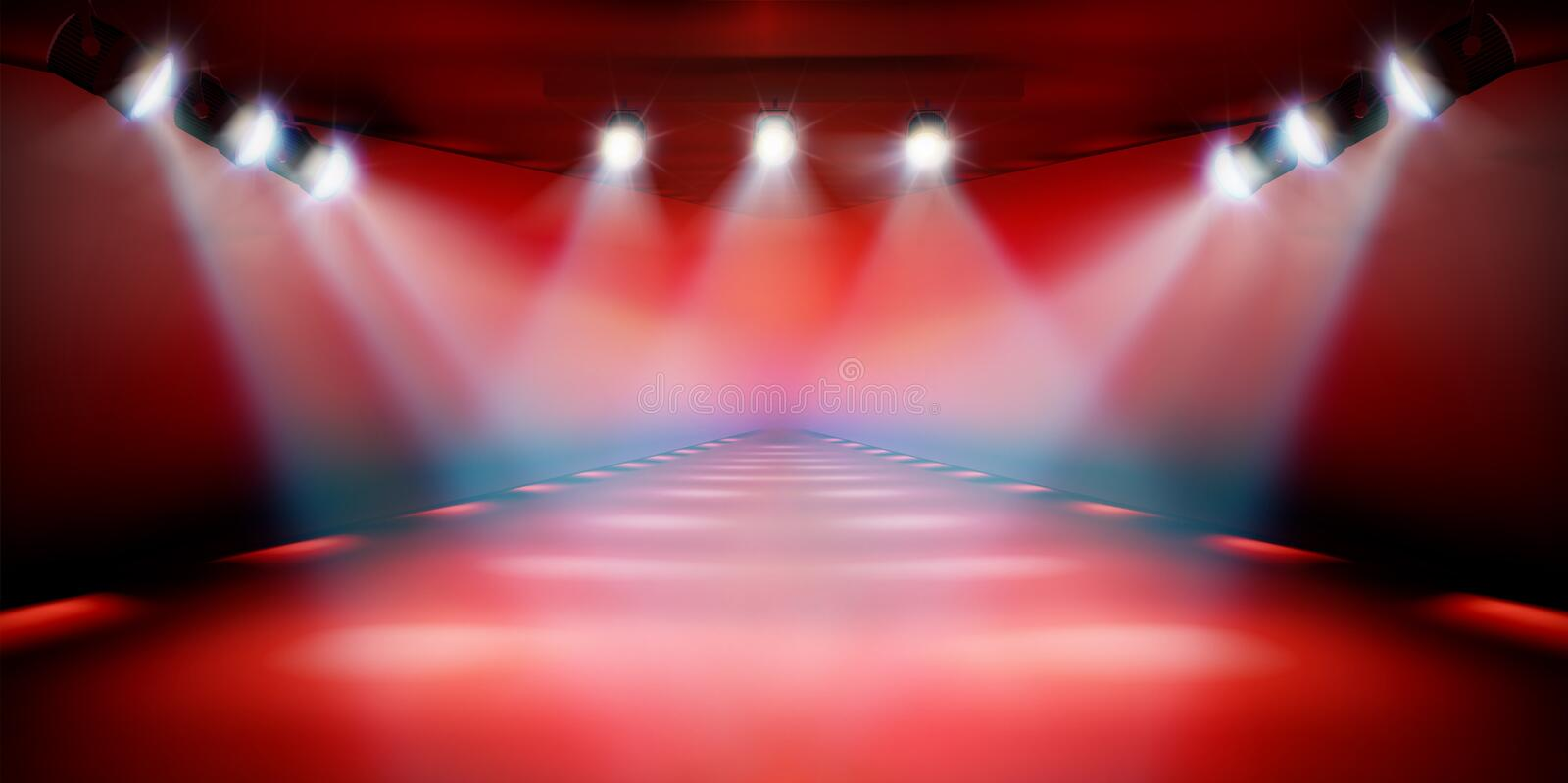 Stage podium during the show. Red background. Vector illustration. royalty free illustration