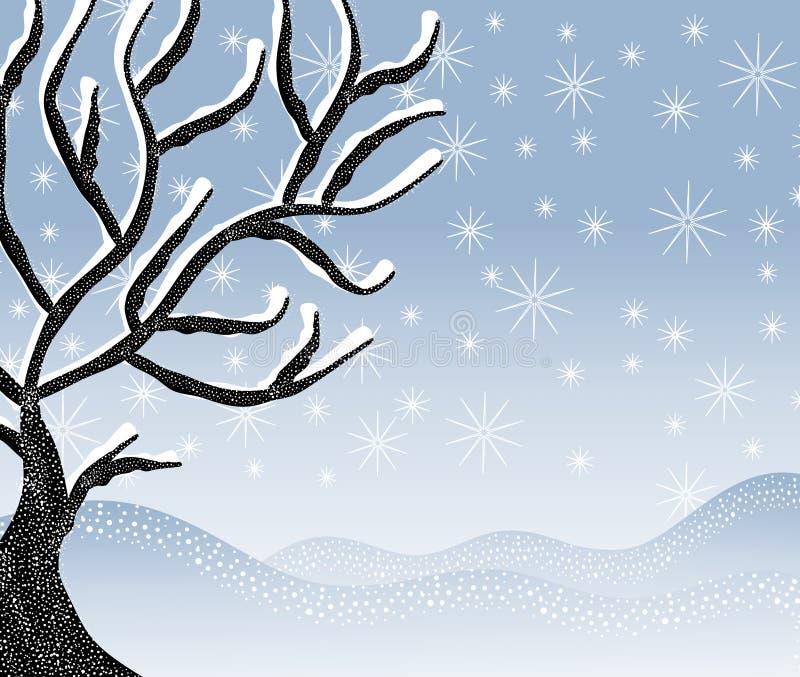 Scena fredda dell'albero di inverno dello Snowy illustrazione vettoriale