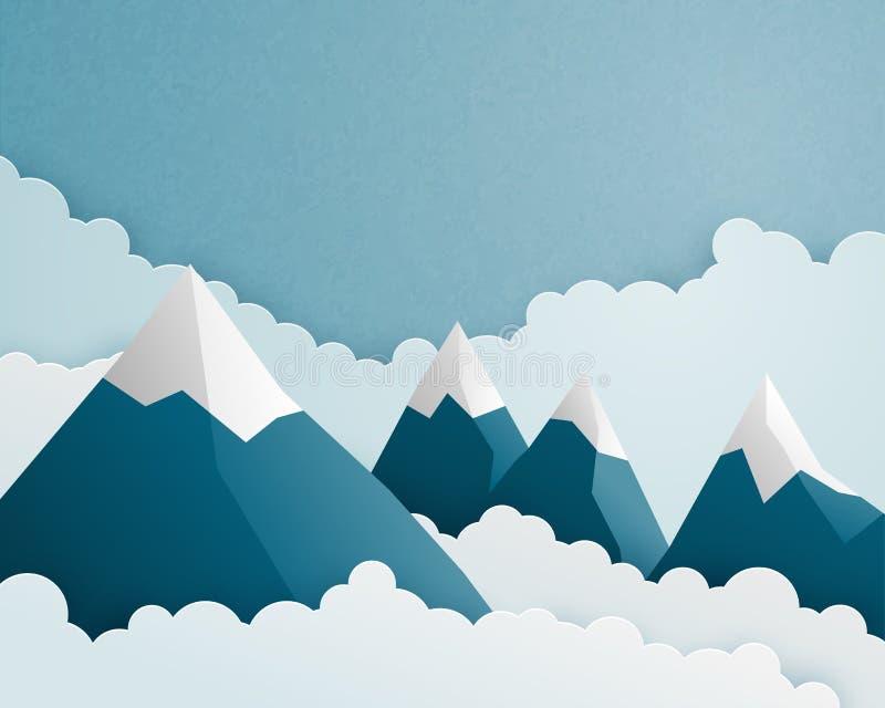 Scena górska i chmura w stylu cięcia papieru. Naturalne chmury krajobrazowe i tło nieba. Ilustracja wektorowa tapety, plakat ilustracji