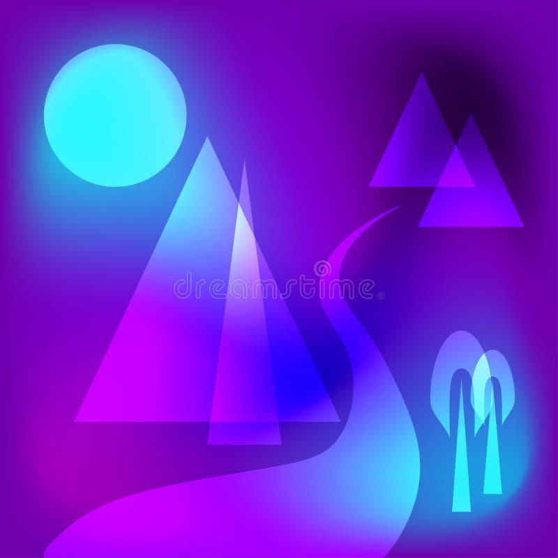 Scena geometrica futuristica della montagna di vettore Paesaggio immaginario Illustrazione creativa royalty illustrazione gratis