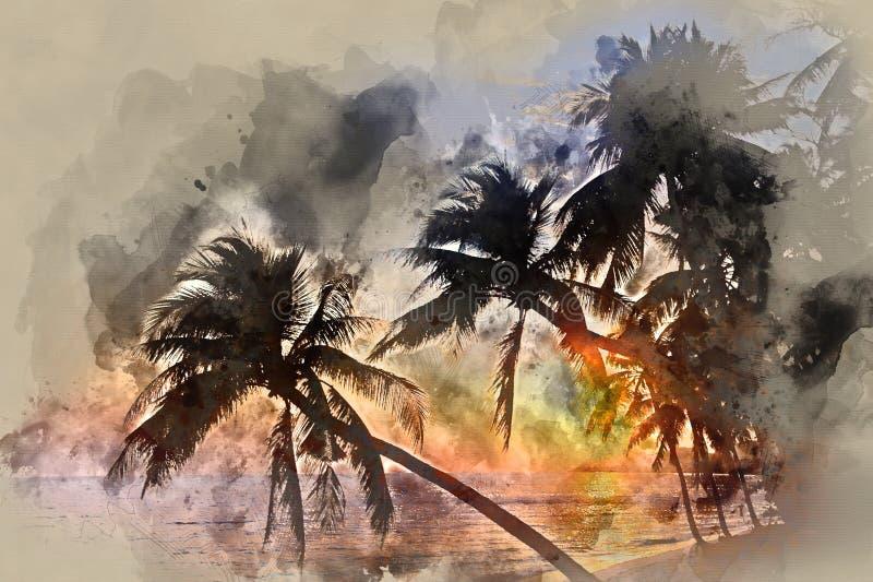 Scena idilliaca delle palme vicino al mare al tramonto illustrazione vettoriale
