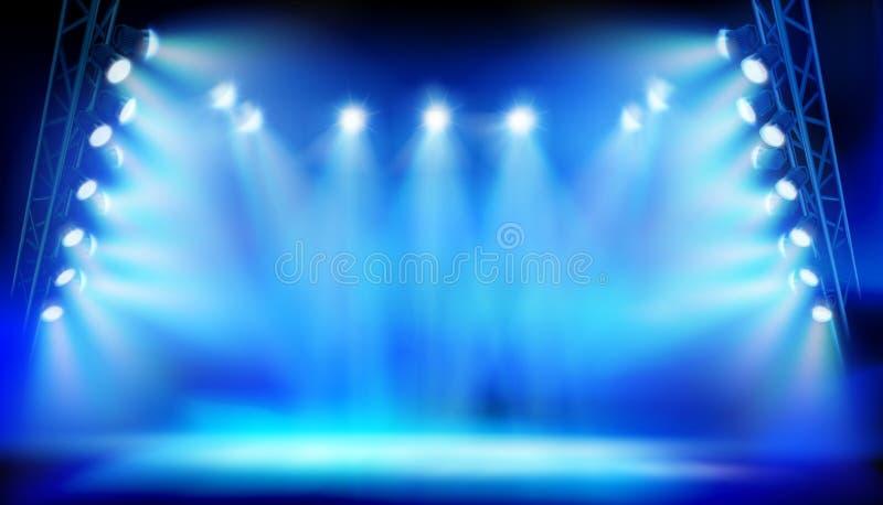 Scena iluminująca światło reflektorów podczas przedstawienia na stadium również zwrócić corel ilustracji wektora ilustracja wektor