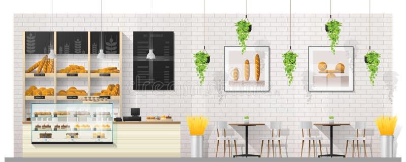 Scena interna del negozio moderno del forno con il contatore, le tavole e le sedie dell'esposizione illustrazione vettoriale