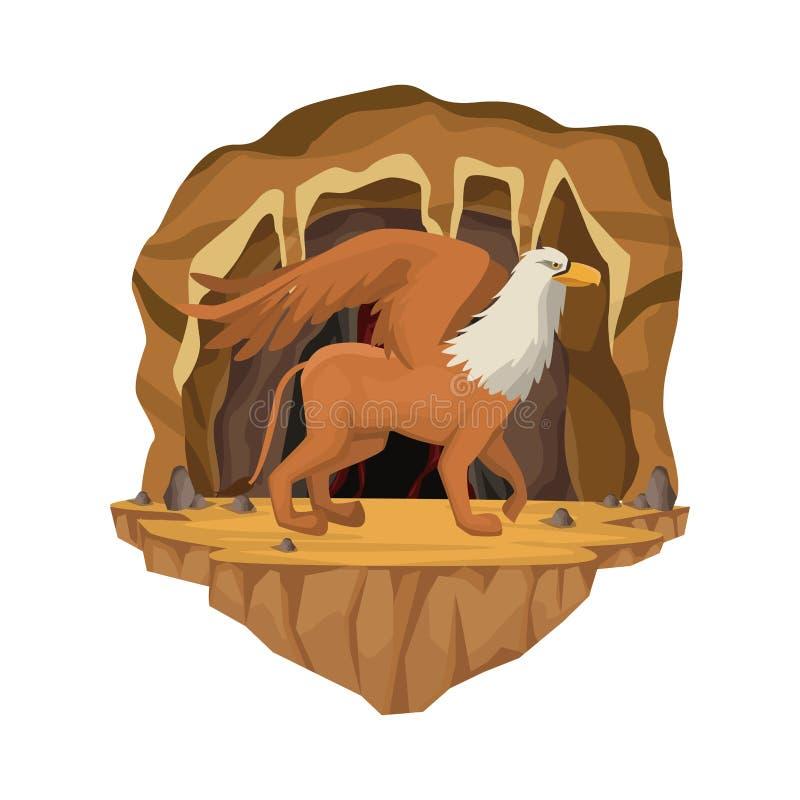 Scena interna della caverna con la creatura mitologica greca del griff royalty illustrazione gratis