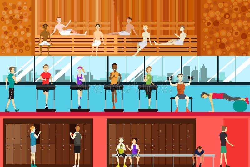 Scena interna della palestra royalty illustrazione gratis