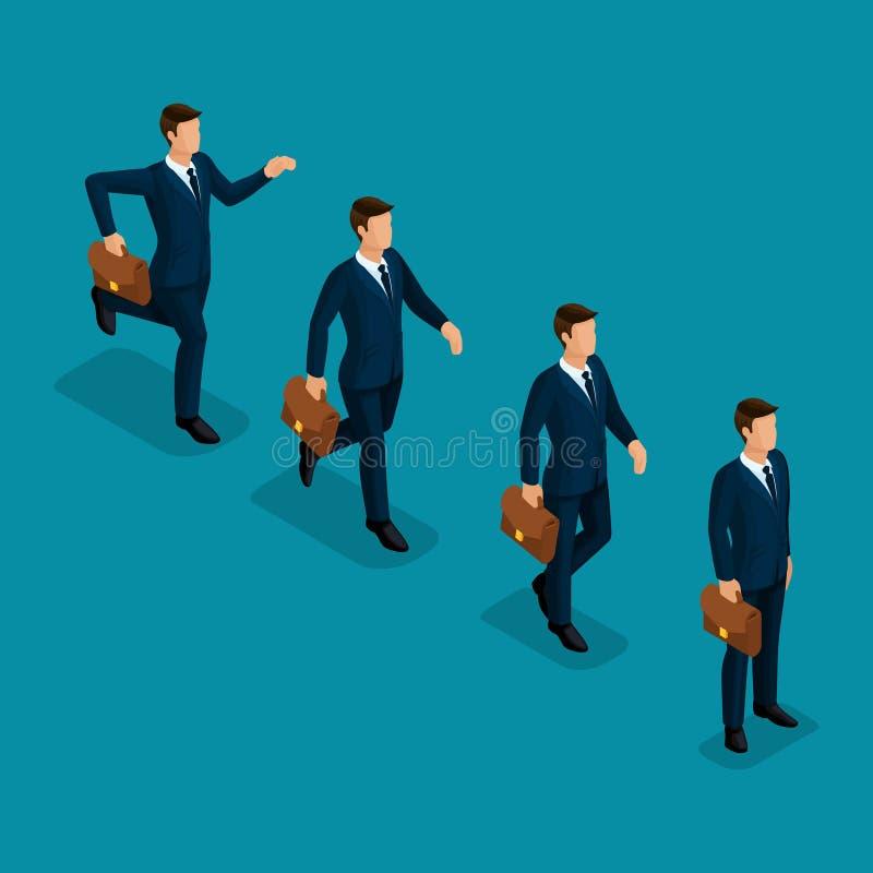 Scena isometrica di affari degli uomini d'affari dell'insieme 3d illustrazione vettoriale