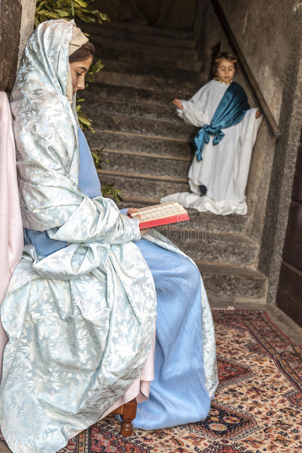 Scena Jezusowy życie Anioła ` s annunciation zdjęcia stock