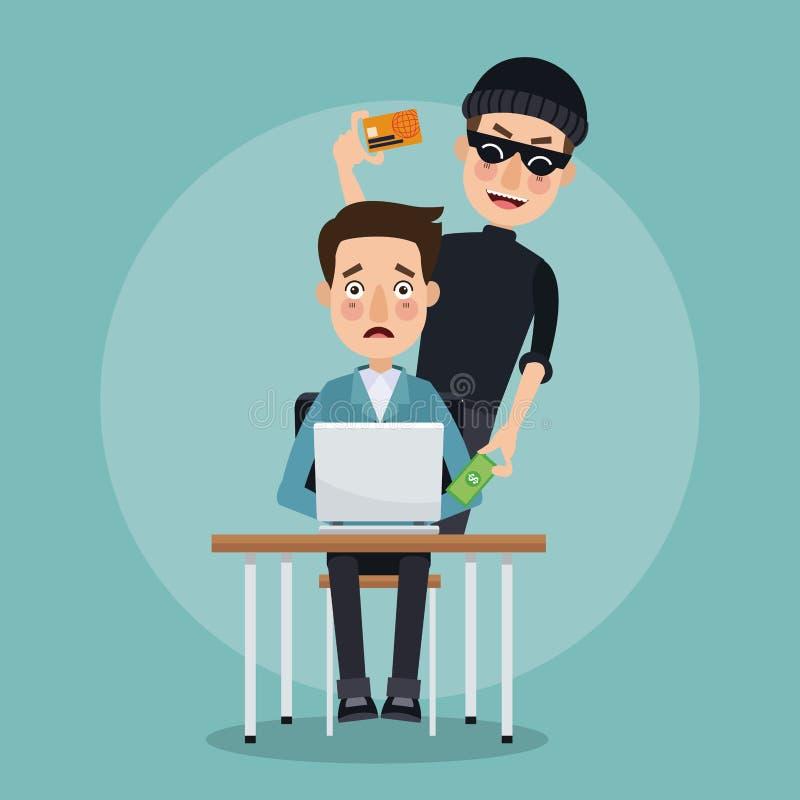 Scena koloru programisty mężczyzna w biurku z laptopem i złodziej obsługujemy hackera kraść dane kredytową kartę royalty ilustracja