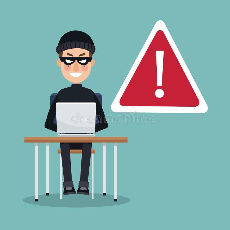 Scena koloru złodzieja mężczyzna hacker w biurku z laptopem pracuje w ostrzeżenie ataku ilustracji