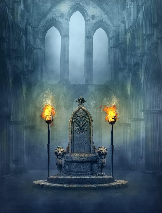 Scena medievale di fantasia con un trono e i tourches illustrazione di stock