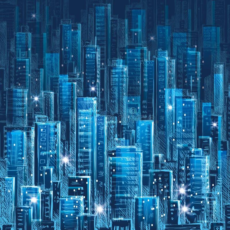 scena miejskiej Miasto przy nocą ilustracji