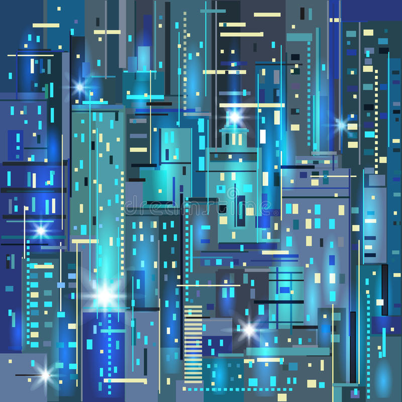 scena miejskiej Miasto przy nocą royalty ilustracja