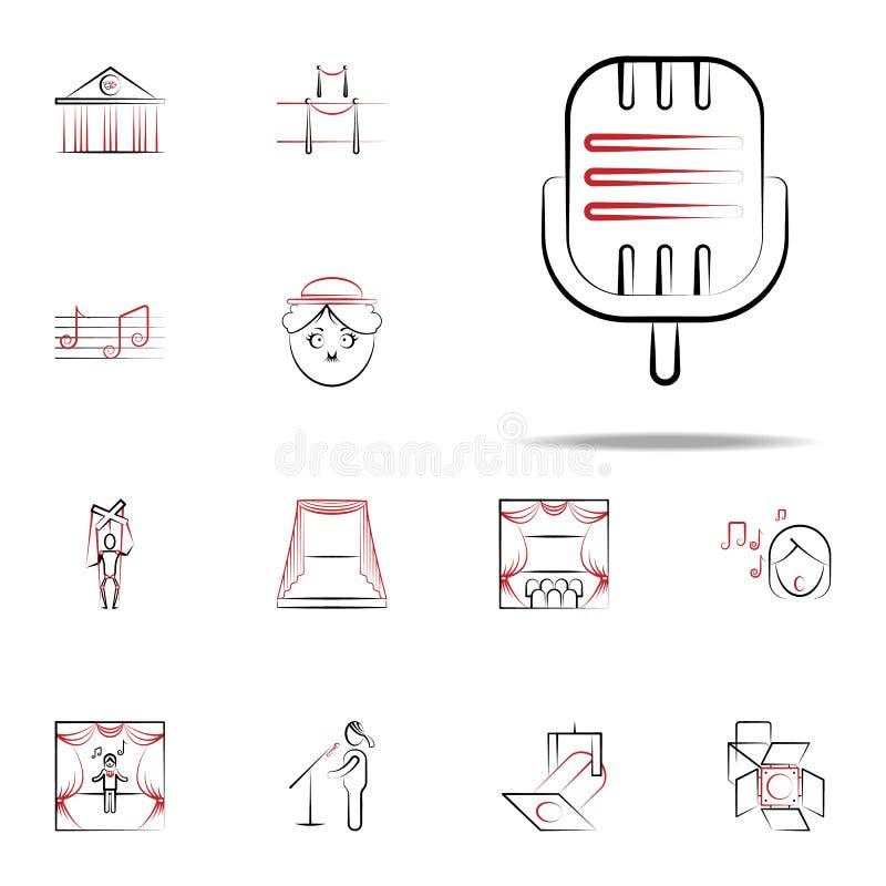 scena mikrofonu ikona handdraw ikon ogólnoludzki ustawiający dla sieci i wiszącej ozdoby ilustracji