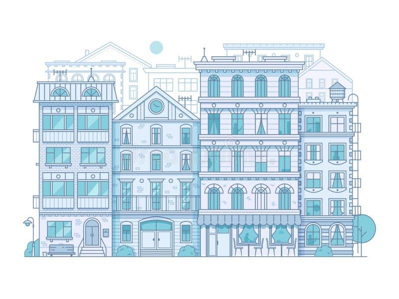 Scena moderna della città nella linea sottile progettazione royalty illustrazione gratis