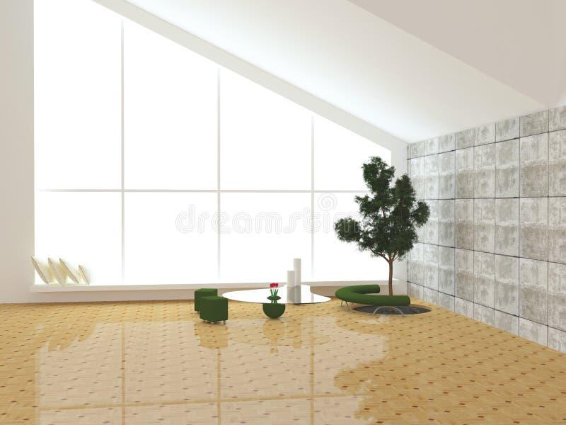 Scena moderna di disegno interno con un albero all'interno. illustrazione vettoriale