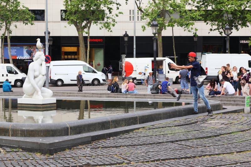 Scena na Catalonia kwadracie, Barcelona zdjęcie royalty free