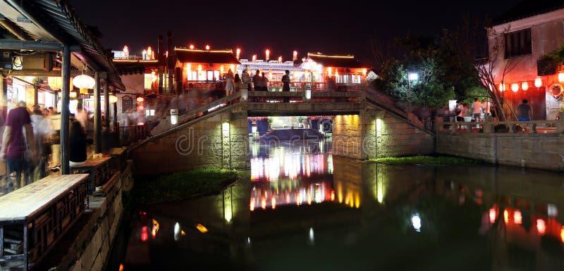 Scena noc w Xitang antycznym miasteczku, Zhejiang prowincja, Chiny fotografia stock