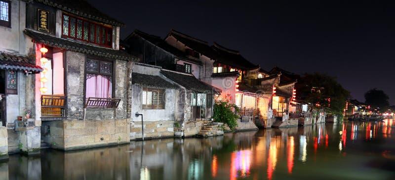 Scena noc w Xitang antycznym miasteczku, Zhejiang prowincja, Chiny obrazy stock