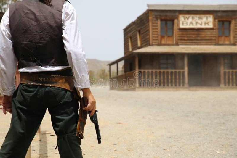 Scena occidentale, manifestazione occidentale nel bravo della fortificazione della spagna immagine stock