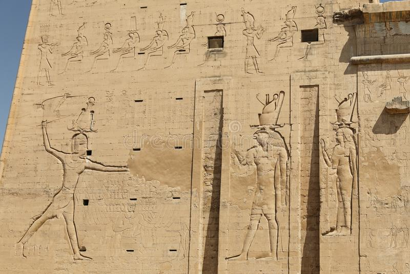 Scena od Edfu świątyni w Edfu, Egipt fotografia royalty free