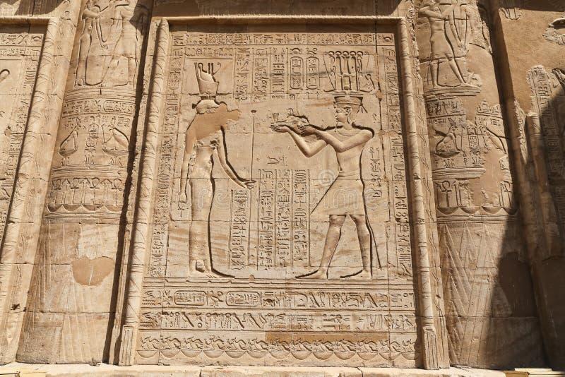 Scena od Edfu świątyni w Edfu, Egipt obrazy royalty free