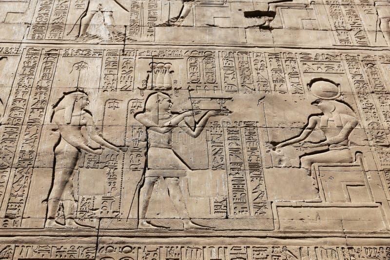 Scena od Edfu świątyni w Edfu, Egipt obraz royalty free