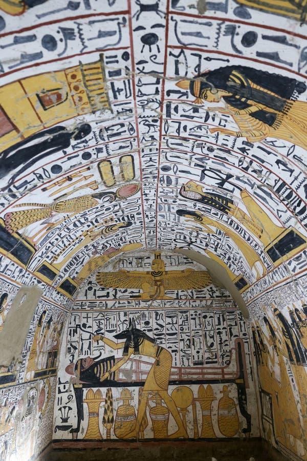 Scena od grobowa w Deir Medina wiosce, Luxor, Egipt zdjęcia royalty free