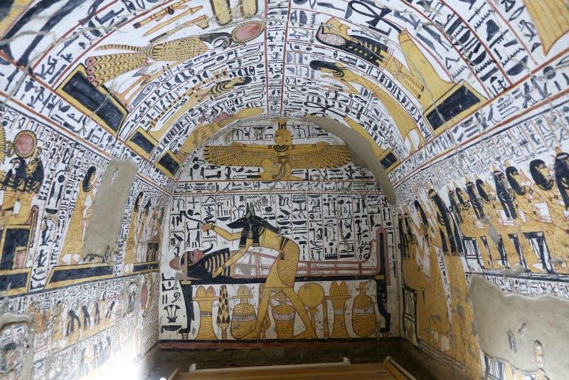 Scena od grobowa w Deir Medina wiosce, Luxor, Egipt zdjęcie royalty free