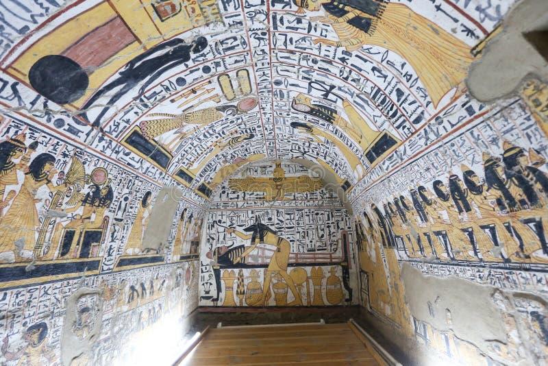 Scena od grobowa w Deir Medina wiosce, Luxor, Egipt obrazy royalty free