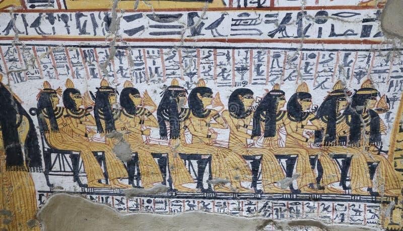Scena od grobowa w Deir Medina wiosce, Luxor, Egipt fotografia stock