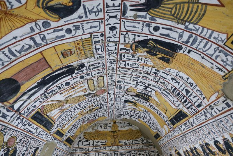 Scena od grobowa w Deir Medina wiosce, Luxor, Egipt zdjęcia stock