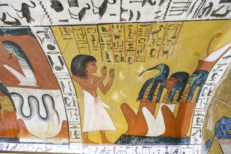 Scena od grobowa w Deir Medina wiosce, Luxor, Egipt fotografia royalty free