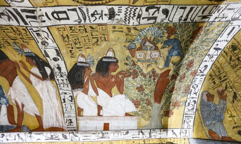 Scena od grobowa w Deir Medina wiosce, Luxor, Egipt obraz royalty free