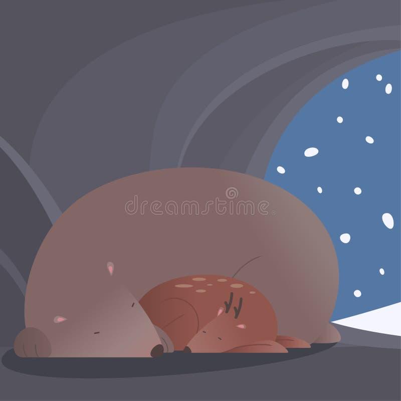 Scena pacifica di inverno con l'orso ed i cervi che dormono insieme illustrazione vettoriale