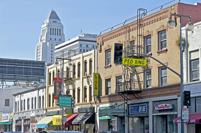 Scena in poco distretto di Tokyo, Los Angeles del centro della via fotografie stock