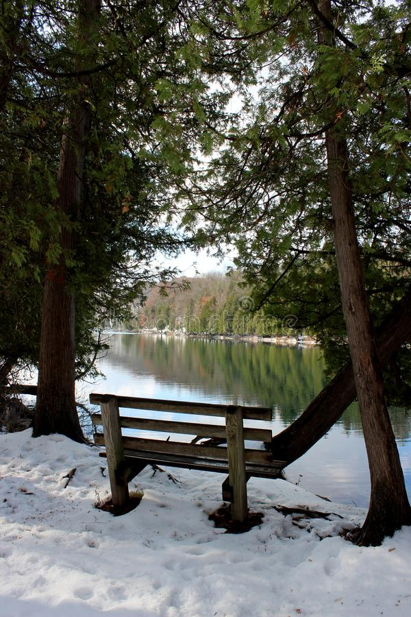 Scena pojedyncza ławka dla sadzać, jasna niebieskozielona jezioro woda z drzewami i świeżo spadać śnieg wzdłuż banków, obraz royalty free