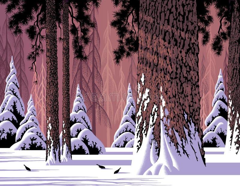 scena puszczy śnieg ilustracja wektor