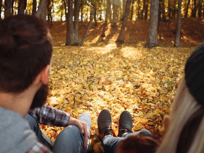Scena romantica del paesaggio di autunno delle coppie di svago di caduta immagini stock libere da diritti