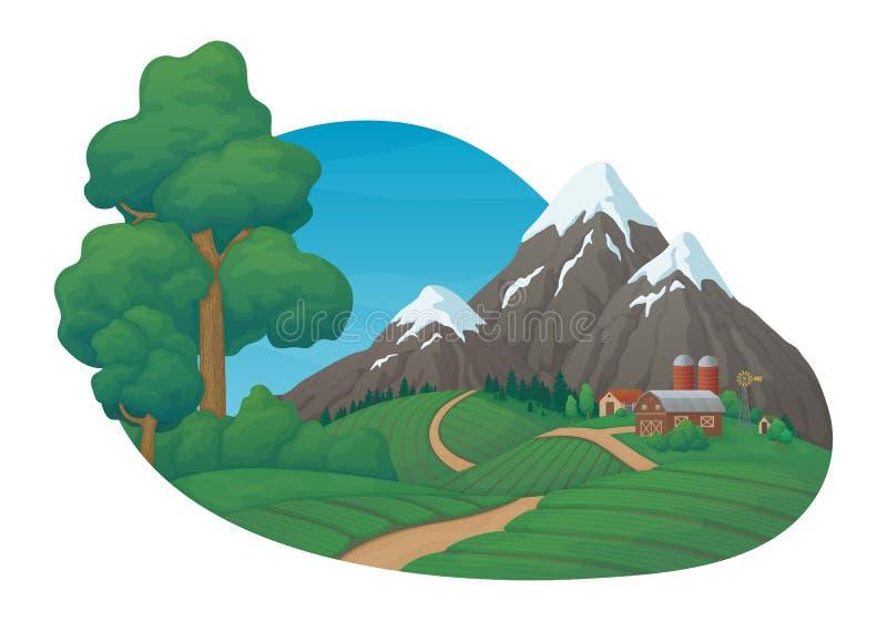 Scena rurale di giorno di estate Casa, granaio, silos e mulino a vento dell'azienda agricola con i campi, i pini ed i cespugli ag royalty illustrazione gratis