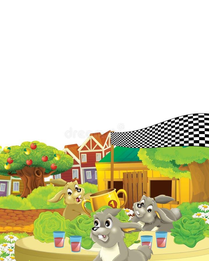 Scena rysunkowa z życiem na farmie królika, który prowadzi konkurs z pierwszą nagrodą - ilustracja dla dzieci royalty ilustracja