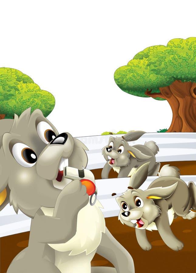 Scena rysunkowa z życiem na farmie królika, który prowadzi konkurs z pierwszą nagrodą - ilustracja dla dzieci ilustracja wektor