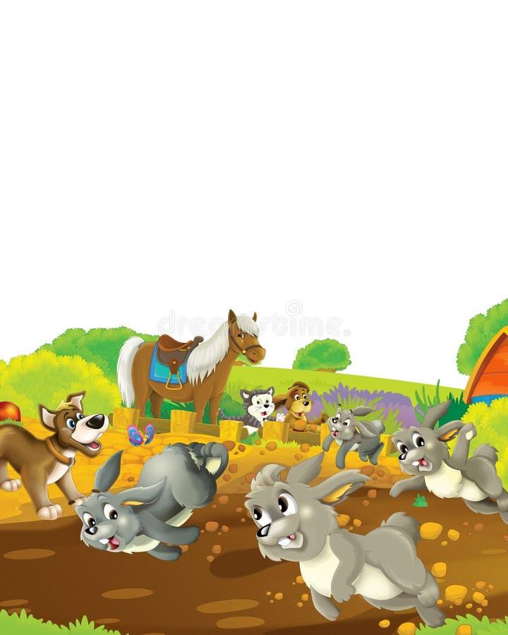 Scena rysunkowa z życiem na farmie królika, który prowadzi konkurs z pierwszą nagrodą - ilustracja dla dzieci ilustracji