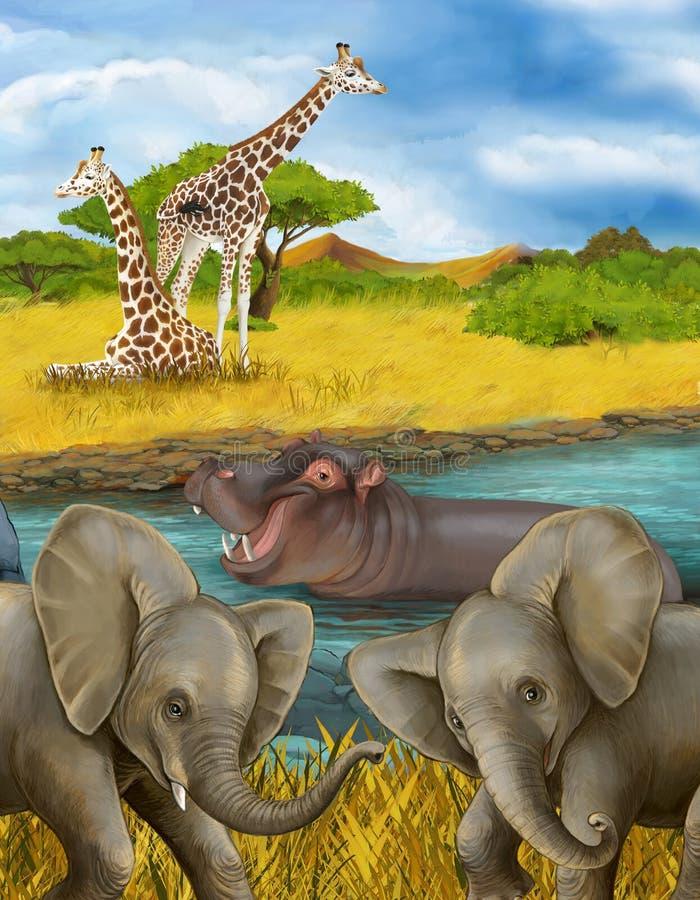 Scena rysunkowa z hippotam hippo w rzece i ilustracja słoni dla dzieci zdjęcia royalty free