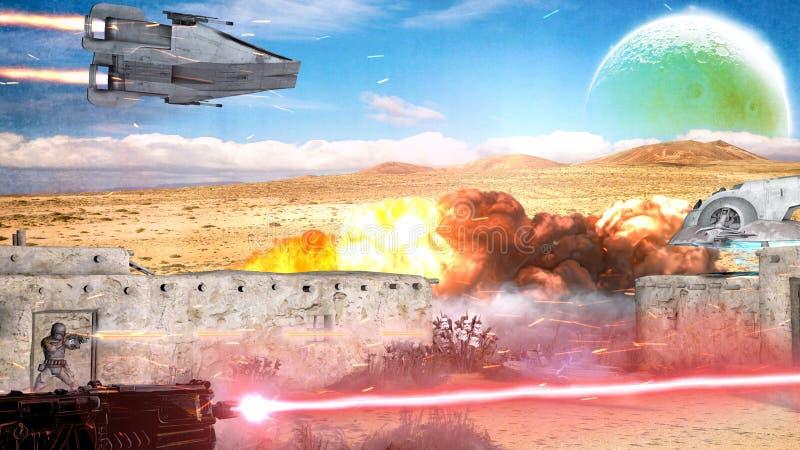 Scena Sci-fi, futuro lontano e altri mondi Scena di guerra, navi spaziali e combattimenti con armi laser illustrazione vettoriale