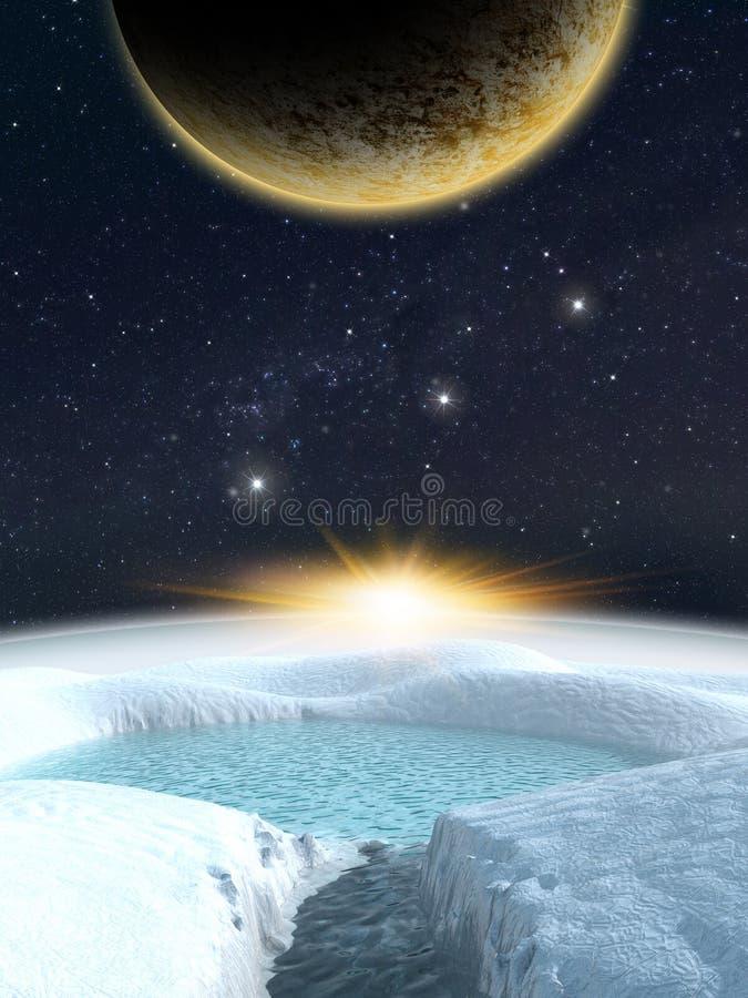 Scena straniera dello spazio di fantasia del pianeta royalty illustrazione gratis